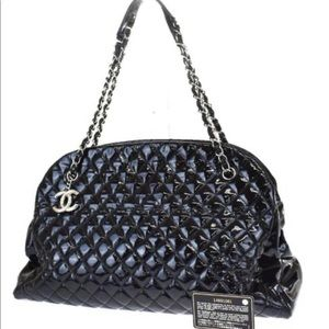 Chanel Mademoiselle Black Patent Bowling Bag